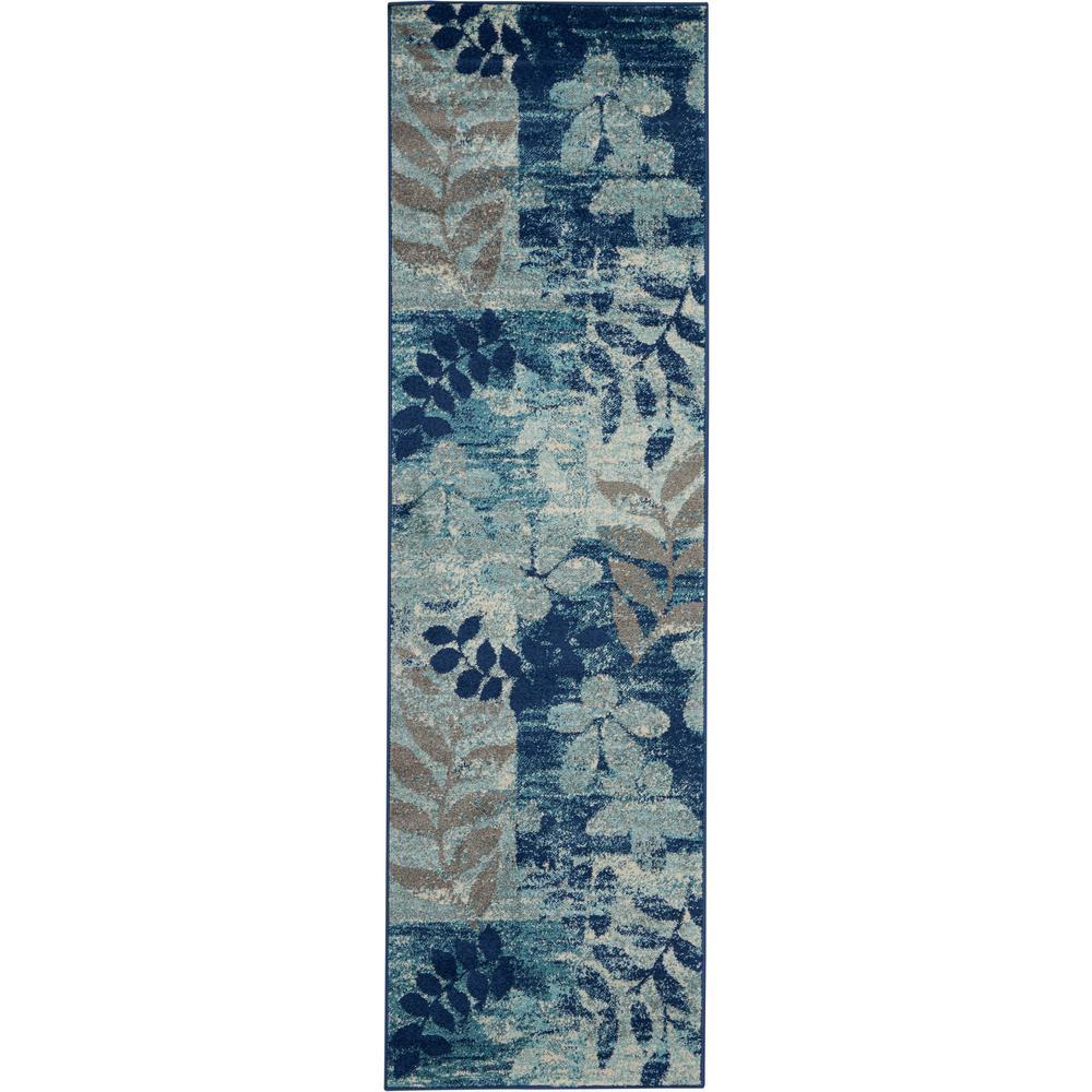 Navy Blue Modern Hallway Runner Rug