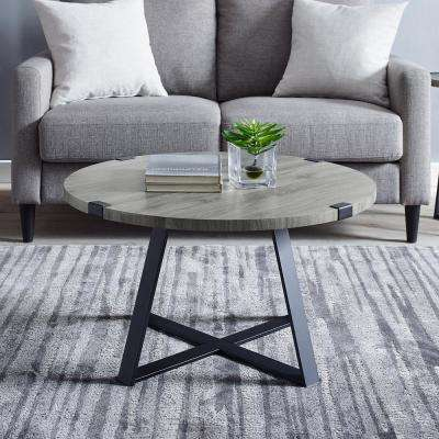 30 in. Slate Gray Rustic Urban Industrial Wood and Metal Wrap Round Coffee Table