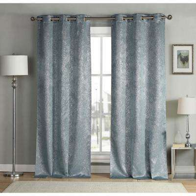 Maddie 38 in. W x 96 in. L Polyester Window Panel in Slate Blue