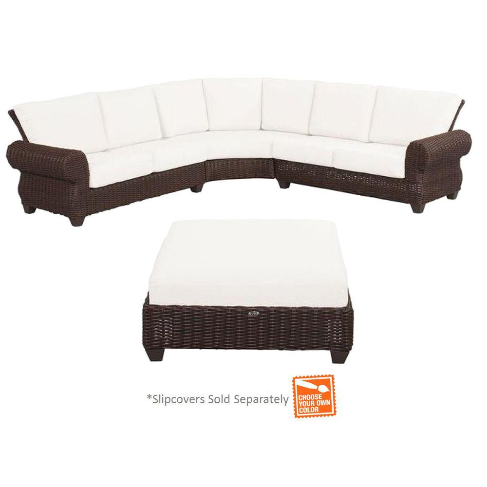 Hampton Bay Woven Sectional Set Cushions Included Choose Your Own Color