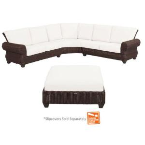 Mill Valley 4-Piece Woven Patio Sectional Set with Cushions Included, Choose Your Own Color