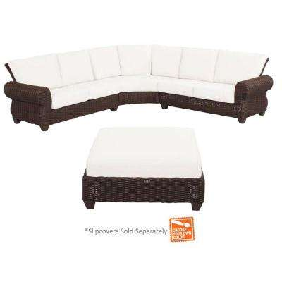Mill Valley 4-Piece Woven Patio Sectional Set with Cushion Insert (Slipcovers Sold Separately)