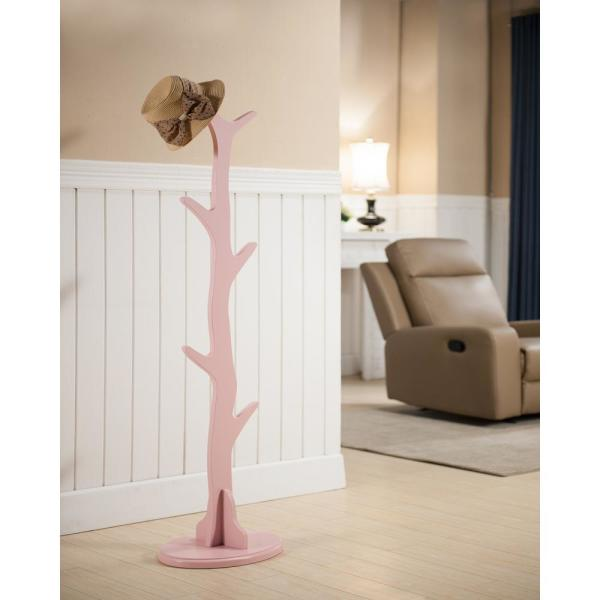 Kings Brand Furniture Pink Wood 6-Hook Tree Coat and Hat Stand