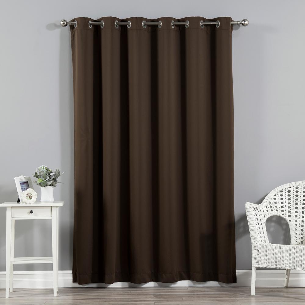 Wide Width Basic Silver 80 in. W x 84 in. L Grommet Blackout Curtain in Dark Chocolate