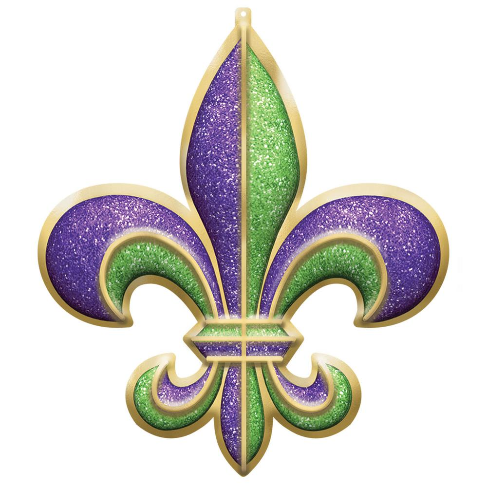 Amscan 26 in. Mardi Gras Plastic Fleur de Lis 3D Decoration (2-Pack) Get your decorating game going with this large glittery Fleur de Lis. The detailed Fleur de Lis is covered in purple, gold, and green glitter and is sure to add a sparkle to your decor. Hang this on your wall and get ready to party all night long.