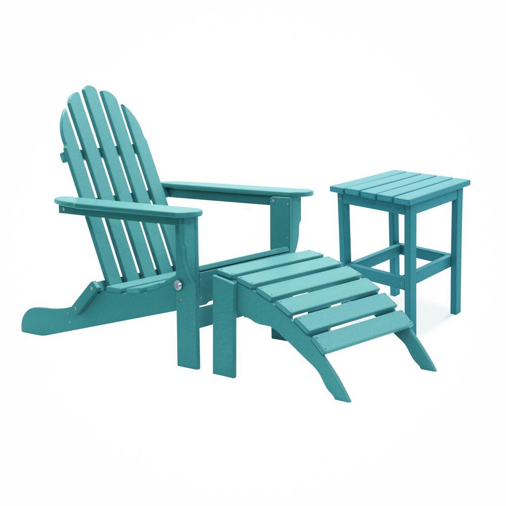 Icon Aruba Recycled Folding Plastic Adirondack Chair (3-Piece)