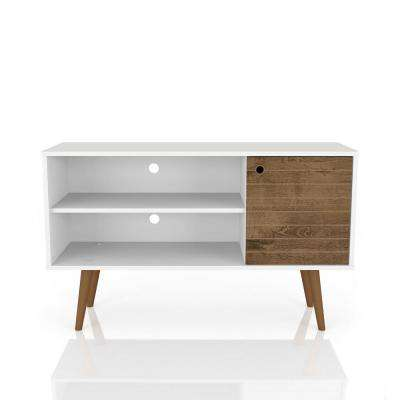 Liberty 42.52 in. White and Rustic Brown 2-Shelf TV Stand