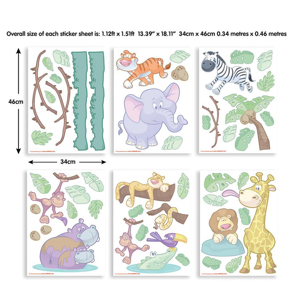 Multi-Color Baby Jungle Safari Wall Stickers