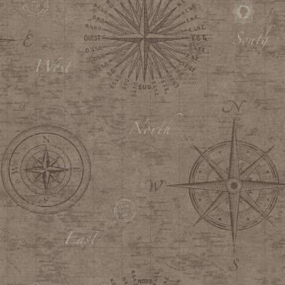 Navigate Wheat Vintage Compass Wallpaper Sample