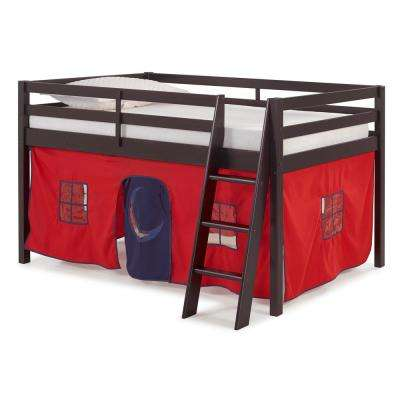 Roxy Espresso Junior Loft Bed with Red and Blue Tent