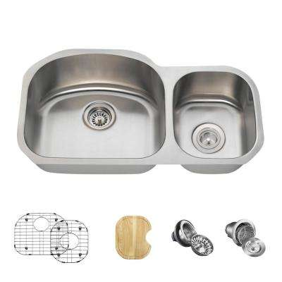 All-in-One Undermount Stainless Steel 32 in. Left Double Bowl Kitchen Sink