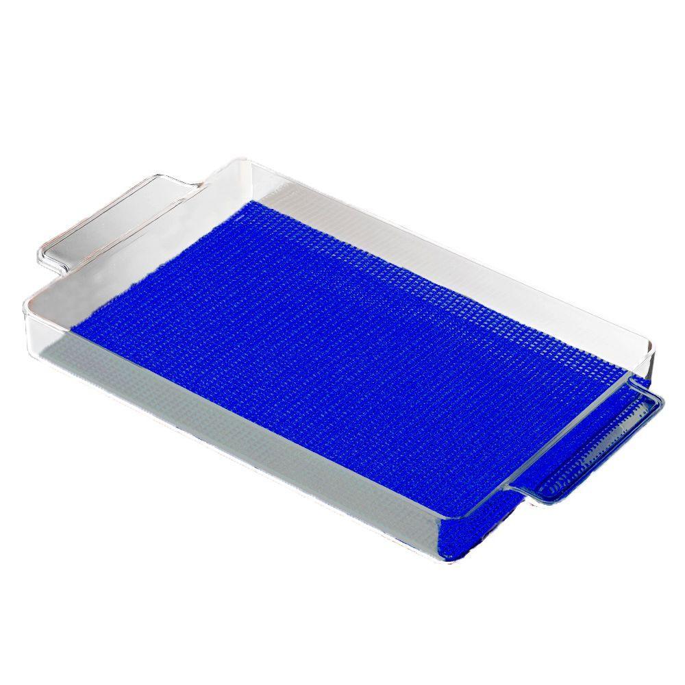 Fishnet Rectangular Serving Tray in Blue