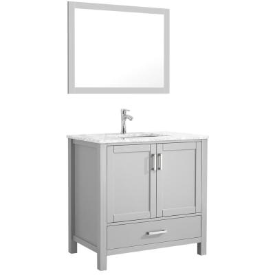 Amaya 36 in. Bathroom Vanity in Grey with Marble Vanity Top in Cararra White with White Ceramic Basin and Mirror
