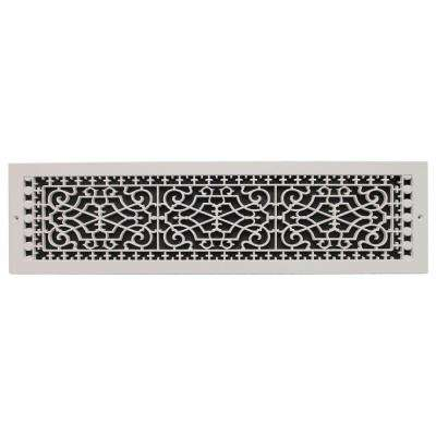 Victorian Base Board 6 in. x 28 in. Opening, 8 in. x 30 in. Overall Size, Polymer Decorative Return Air Grille, White