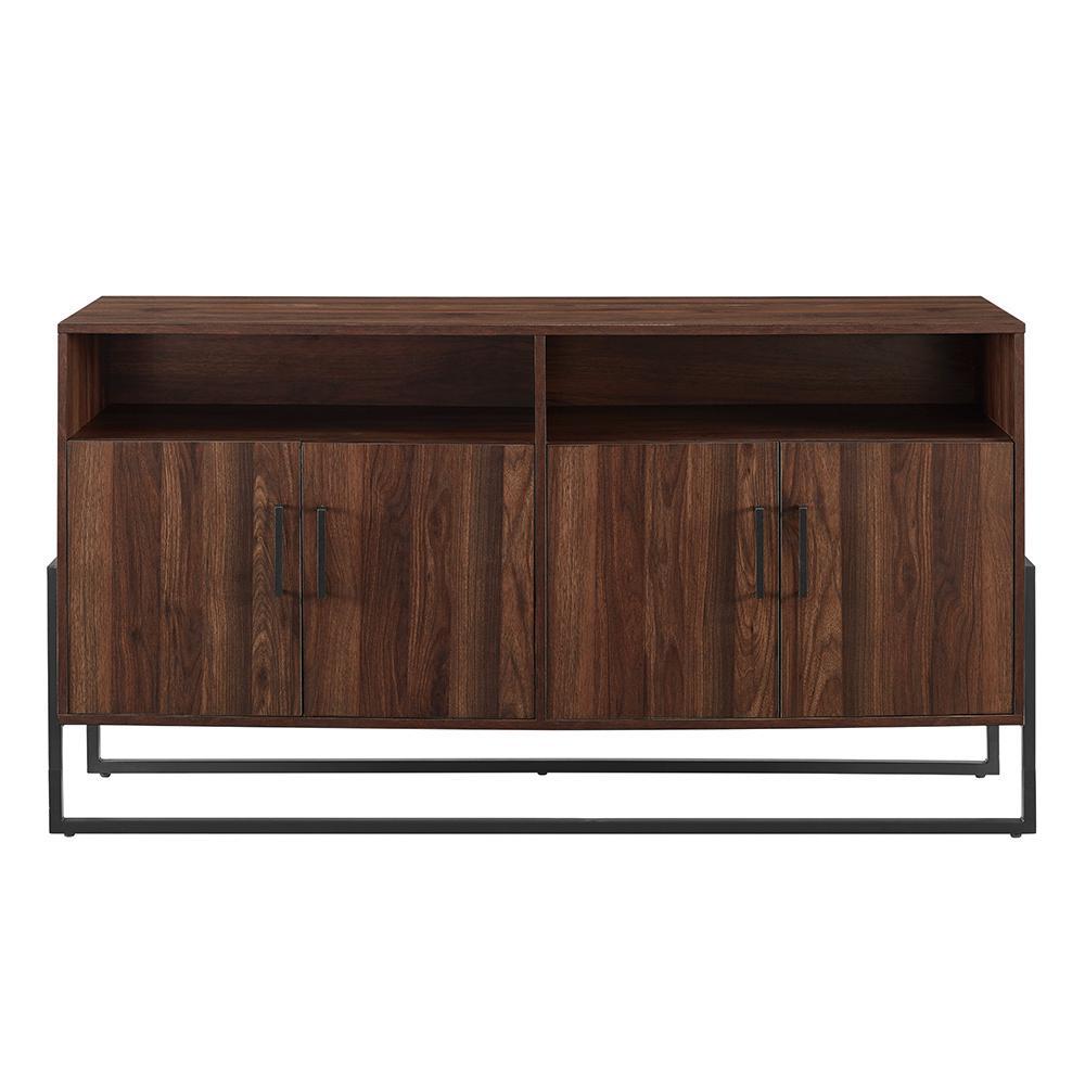 58 in. 4-Door Dark Walnut Modern TV Stand