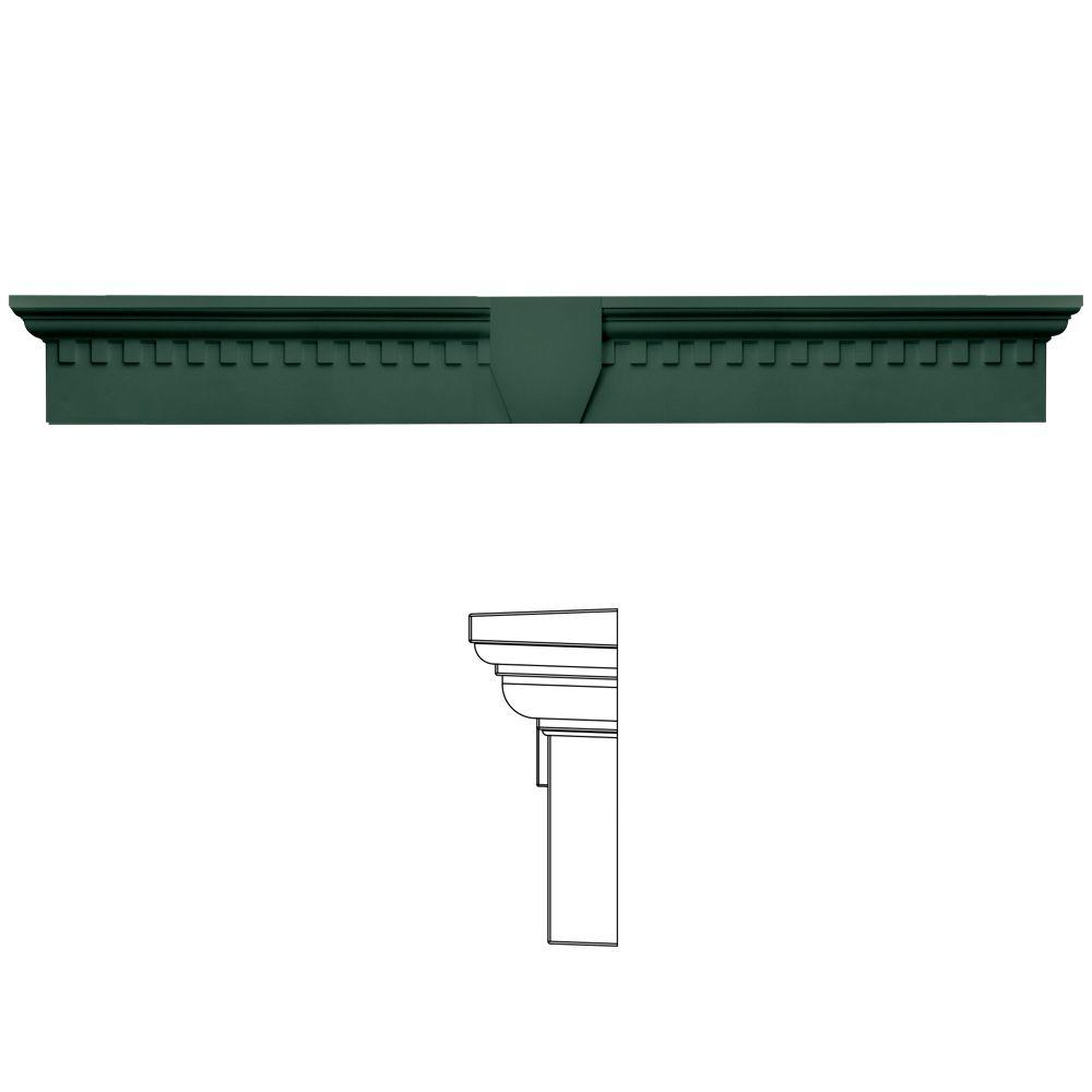 Builders Edge 9 in. x 73 5/8 in. Classic Dentil Window Header with Keystone in 028 Forest Green