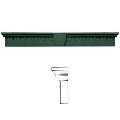9 in. x 73 5/8 in. Classic Dentil Window Header with Keystone in 028 Forest Green