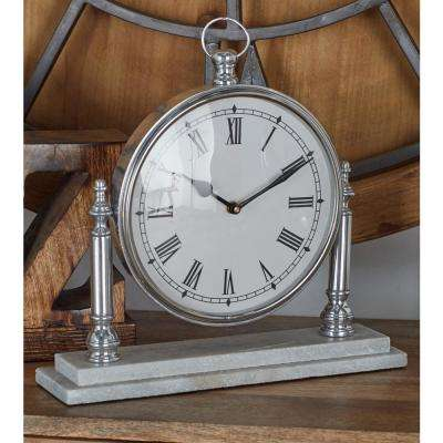Silver Pocket Watch-Style Table Clock