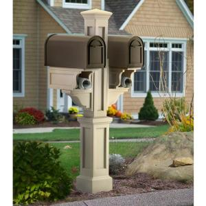 Mayne Rockport Plastic Double Mailbox Post, Clay by Mayne