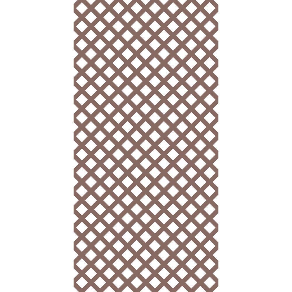 Gridworx 4 ft. x 8 ft. Acorn Brown Traditional Vinyl Lattice (2-Pack)