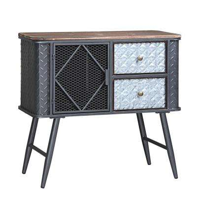 Forester Brown Wood and Metal 2-Drawer Credenza