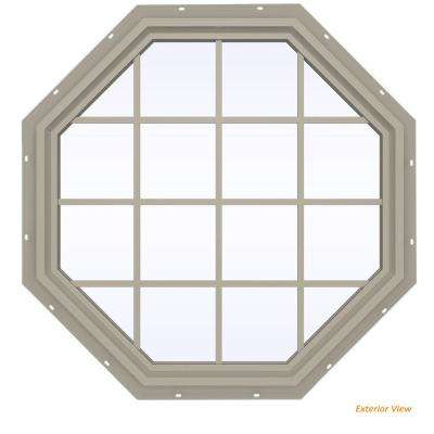 47.5 in. x 47.5 in. V-4500 Series Desert Sand Vinyl Fixed Octagon Geometric Window with Colonial Grids/Grilles