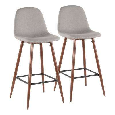 Pebble 29 in. Walnut Metal and Light Grey Fabric Barstool (Set of 2)