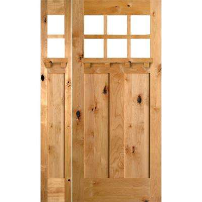 50 in. x 80 in. Craftsman Alder 6-Lite Clear Low-E w/DS Unfinished Wood Left-Hand Prehung Front Door/Left Sidelite