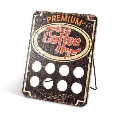 10 in. x 13 in. Brown Wood Single Serve Coffee Capsule Holder