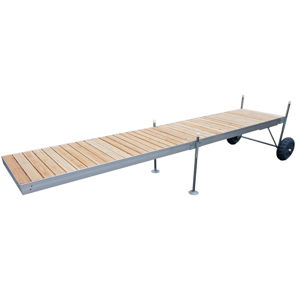 Tommy Docks 20 ft. Roll-In-Dock Straight Aluminum Frame With Removable Cedar Decking Complete Dock Package