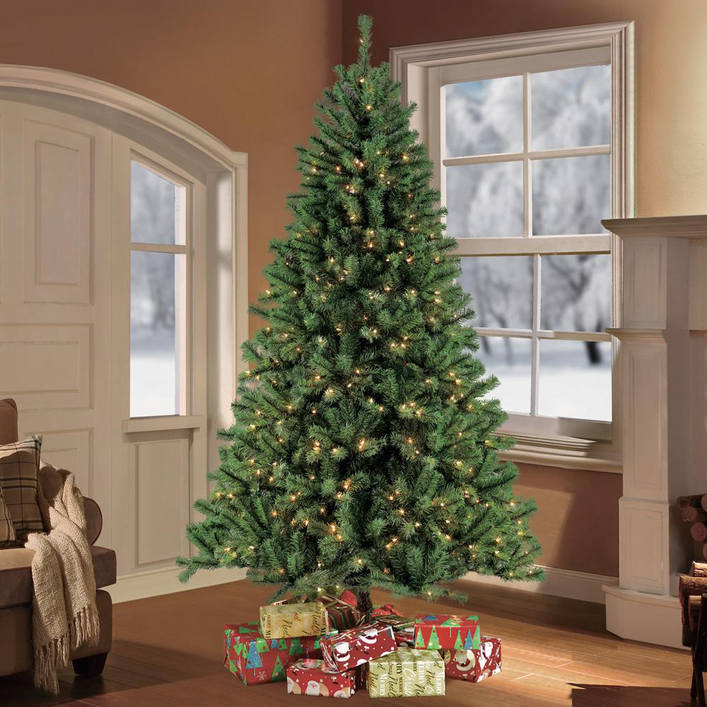 Puleo 7.5 ft. Pre-Lit Northern Fir Artificial Christmas Tree with ...