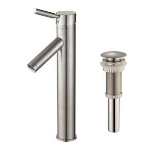 sheven single hole vessel bathroom faucet with matching pop up drain in satin