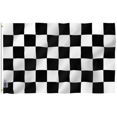 Fly Breeze 3 ft. x 5 ft. Polyester Checkered Flag 2-Sided Flags Banner with Brass Grommets and Canvas Header