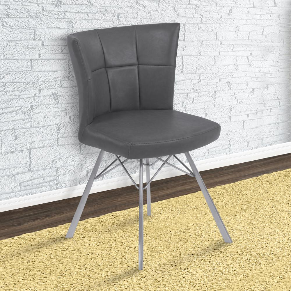 Spago 32 in. Vintage Gray Faux Leather and Brushed Stainless Steel
