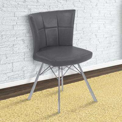 Spago 32 in. Vintage Gray Faux Leather and Brushed Stainless Steel Finish Dining Chair (Set of 2)
