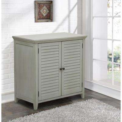 Louvered Gray Storage Cabinet