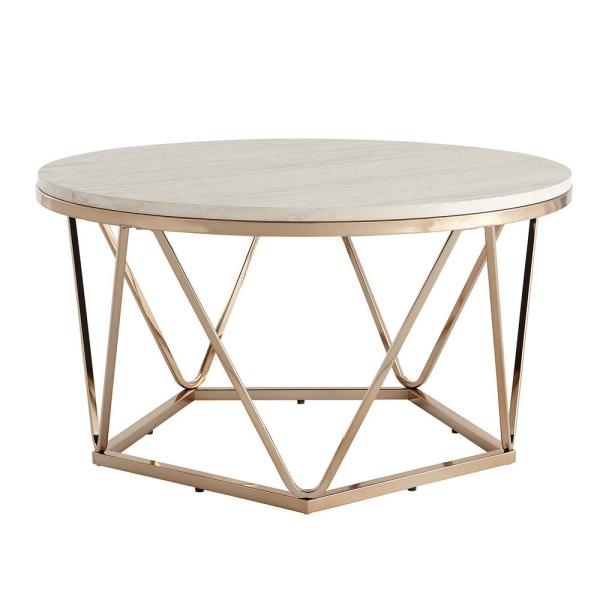 Ensla Champagne Round Faux Stone Cocktail Table