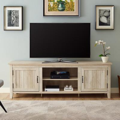 16 in. White Oak Composite TV Stand 70 in. with Doors