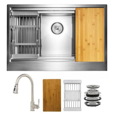 Handmade All-in-One Farmhouse Stainless Steel 33 in. x 20 in. Single Bowl Kitchen Sink with Pull-down Faucet Accessory