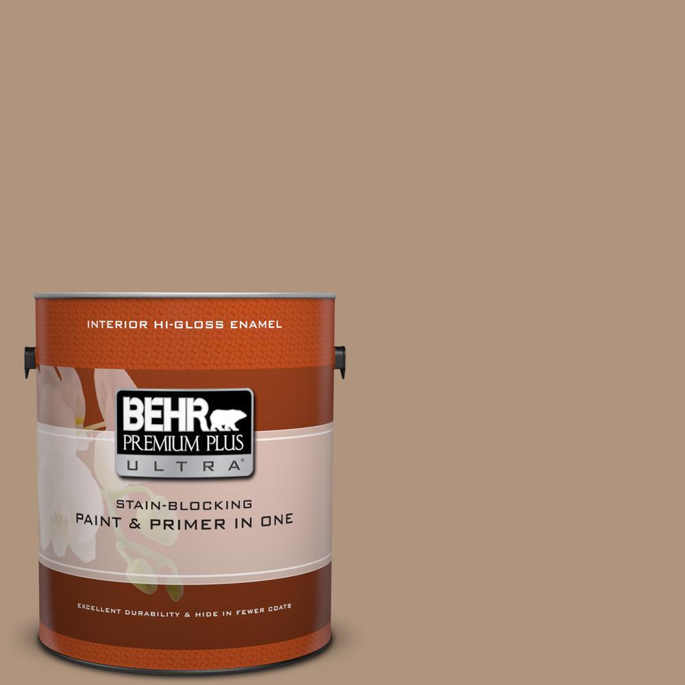 1 gal. #PPU4-4 Soft Chamois Hi-Gloss Enamel Interior Paint