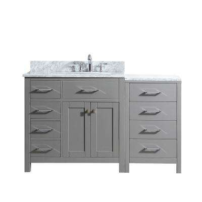 Caroline Parkway 57 in. W Single Bath Vanity in Cashmere Grey with Marble Vanity Top and Round Basin with Faucet
