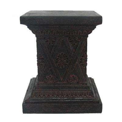 18 in. H Aged Charcoal Stone Finish Pedestal