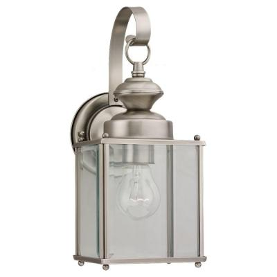 Jamestowne 1-Light Antique Brushed Nickel Outdoor 12.5 in. Wall Lantern Sconce