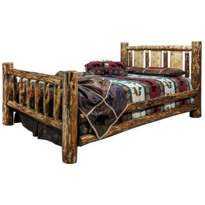 Glacier Brown California King Laser Engraved Wolf Motif Spindle Style Bed