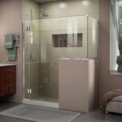 Unidoor-X 58 in. x 40-3/8 in. x 72 in. Frameless Hinged Shower Enclosure in Chrome