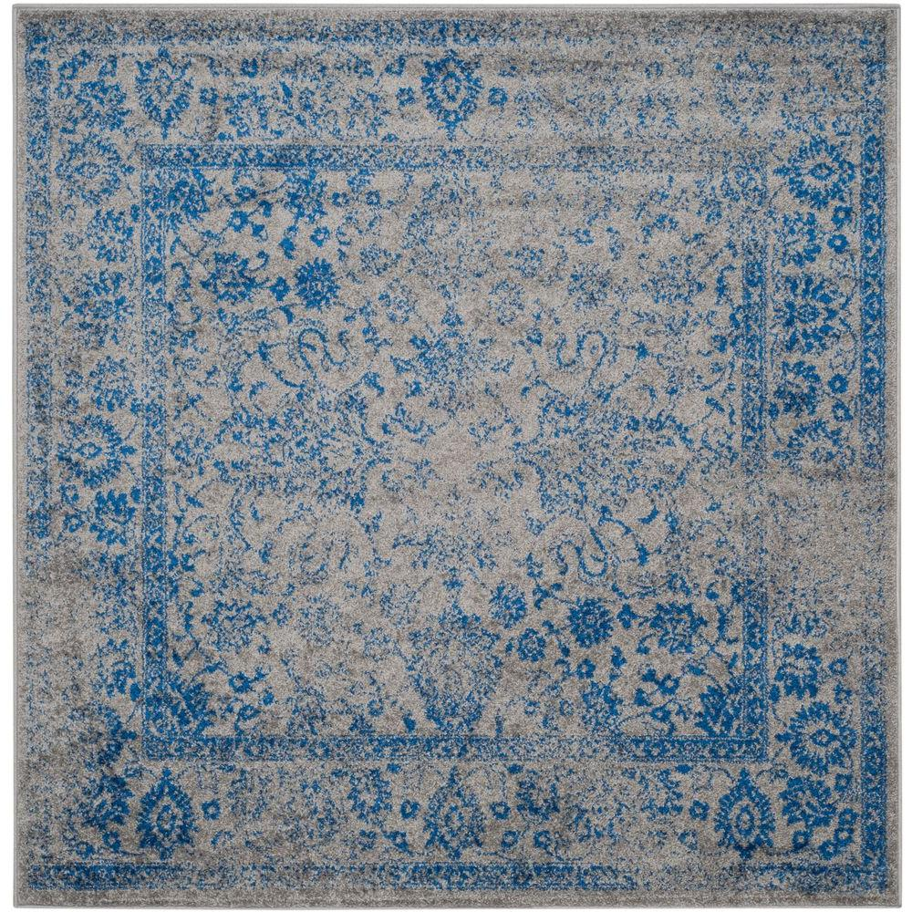 Bon Adirondack Grey/Blue 6 Ft. X 6 Ft. Square Area Rug