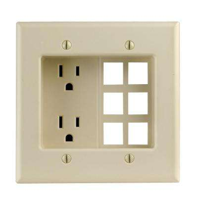 2-Gang Recessed Entertainment Box with Duplex Outlet and Openings for 6 Quickport Connectors, Ivory
