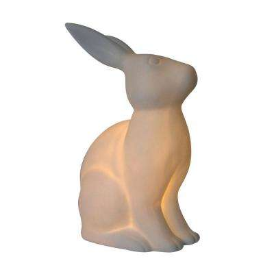 Animal Love 10.9 in. White Porcelain Bunny Rabbit Shaped Table Lamp