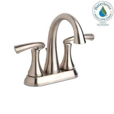 Brenna 4 in. Centerset 2-Handle Mid-Arc Bathroom Faucet in Satin Nickel