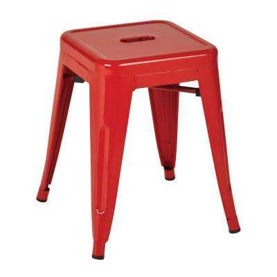 Patterson 18 in. Red Powder Coated Steel Metal Backless Stool in Fully Assembled (2-Pack)